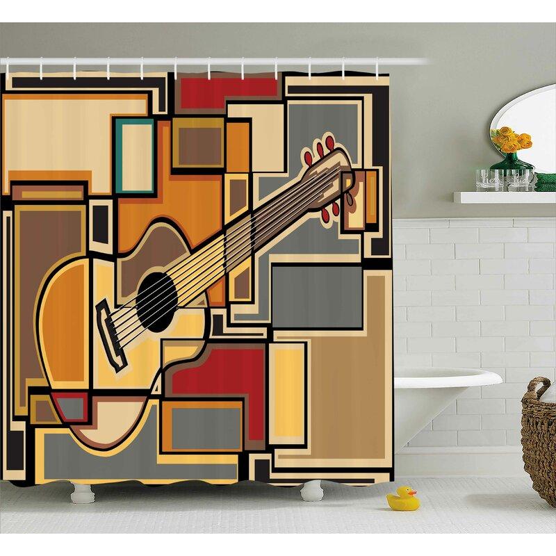 Winston Porter Auburn Geometric Guitar Decor Shower Curtain | Wayfair