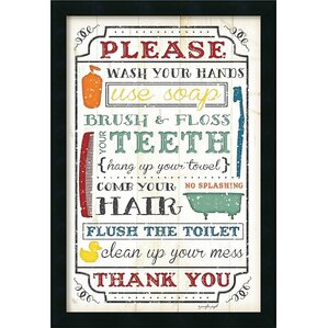 bathroom rules framed textual art