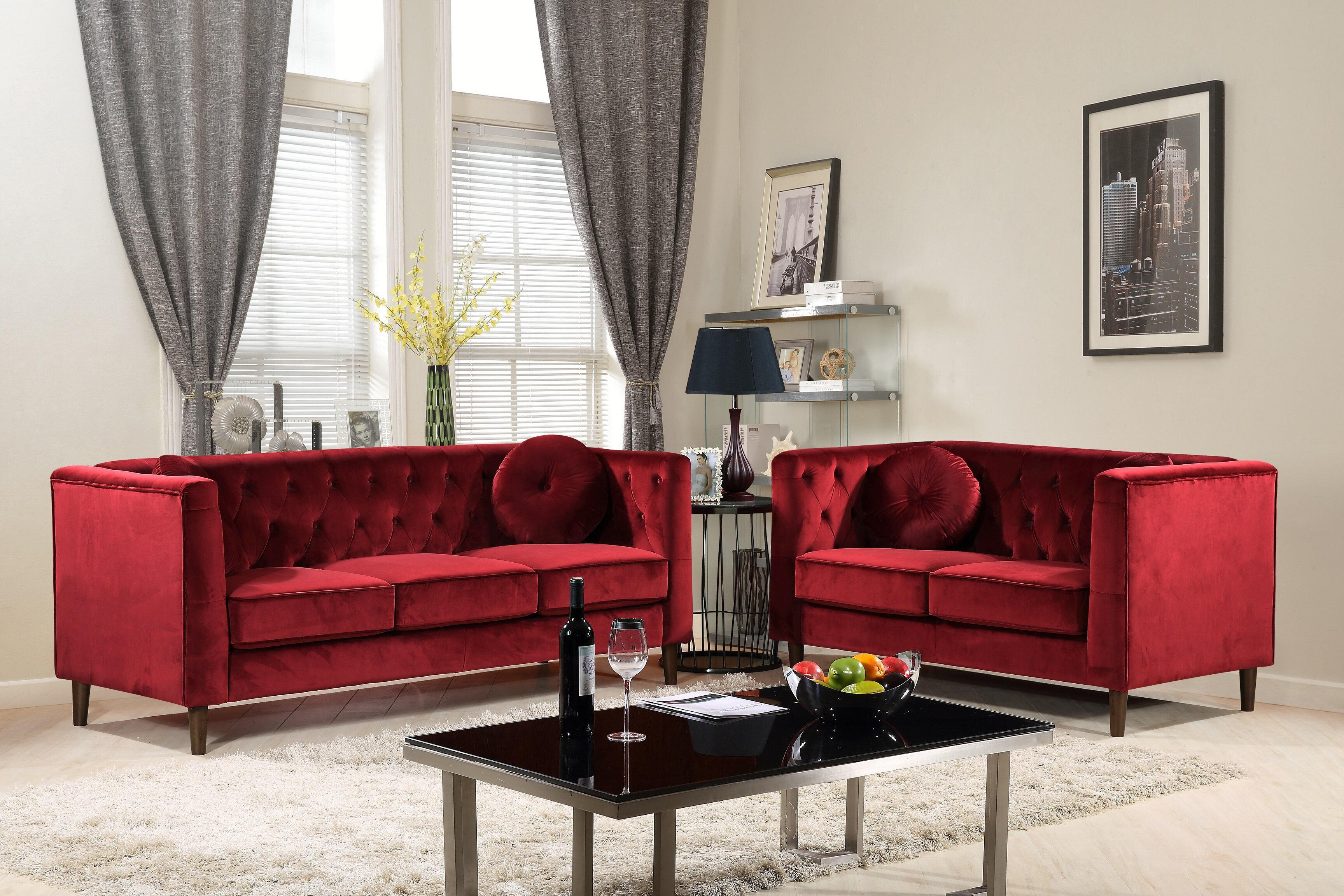 Everly Quinn Kitts Classic Chesterfield 2 Piece Living Room Set
