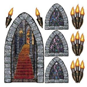 9 Piece Halloween Stairway Window and Torch Prop Set