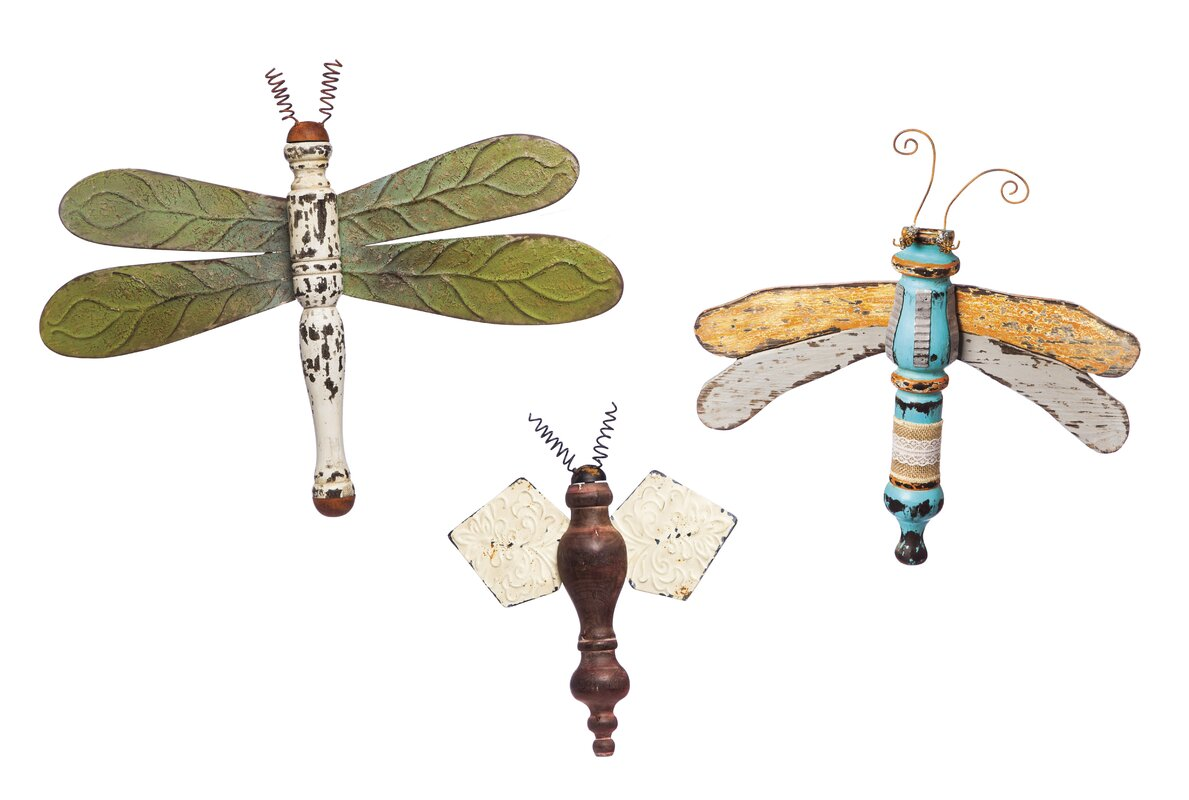 Dragonfly Wall Decor august grove 3 piece dragonflies and bee wall décor set & reviews