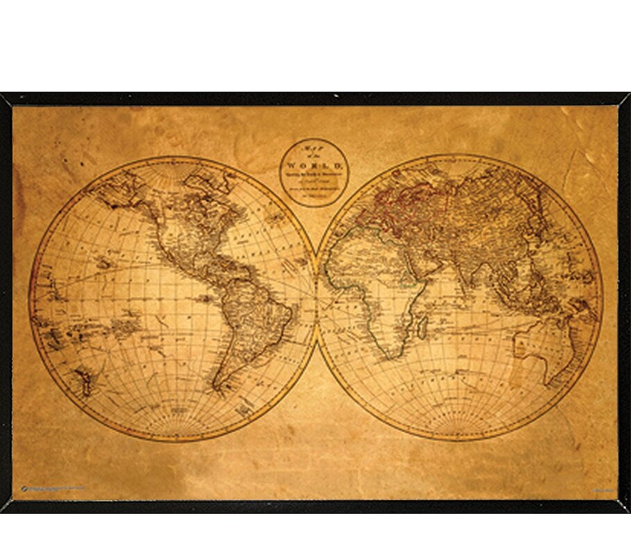 Frame usa old world map framed graphic art print poster reviews old world map framed graphic art print poster gumiabroncs Gallery