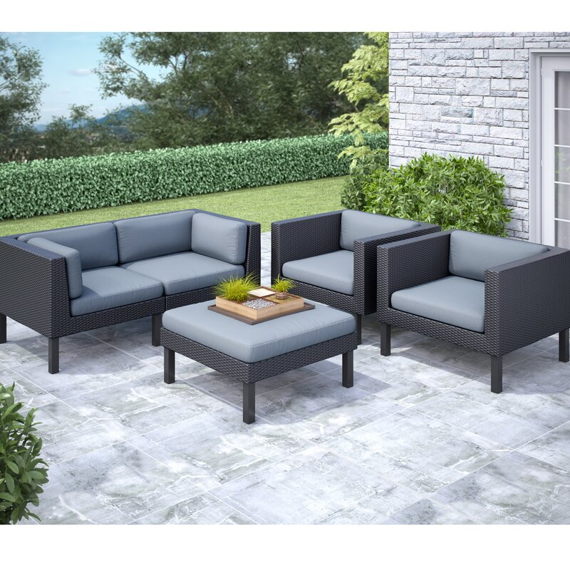 DCOR Design Oakland 5 Piece Sofa Set With Cushions