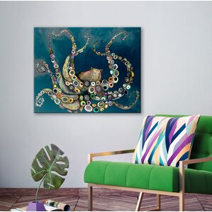 U0027Octopus In The Navy Blue Seau0027 Framed On Canvas. U0027