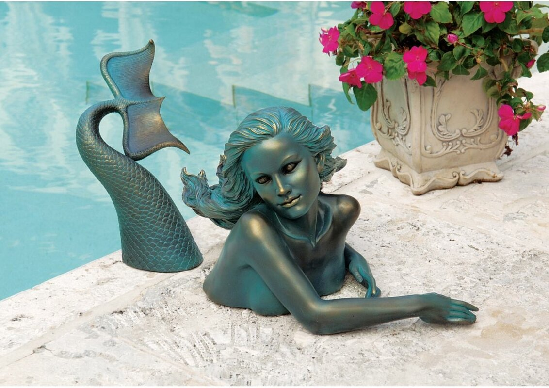 Design toscano meara the mermaid swimmer statue reviews for Outdoor pool sculptures