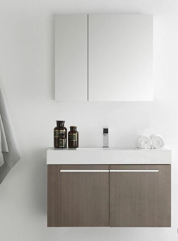 Fresca Senza 36 Vista Single Wall Mounted Modern Bathroom Vanity