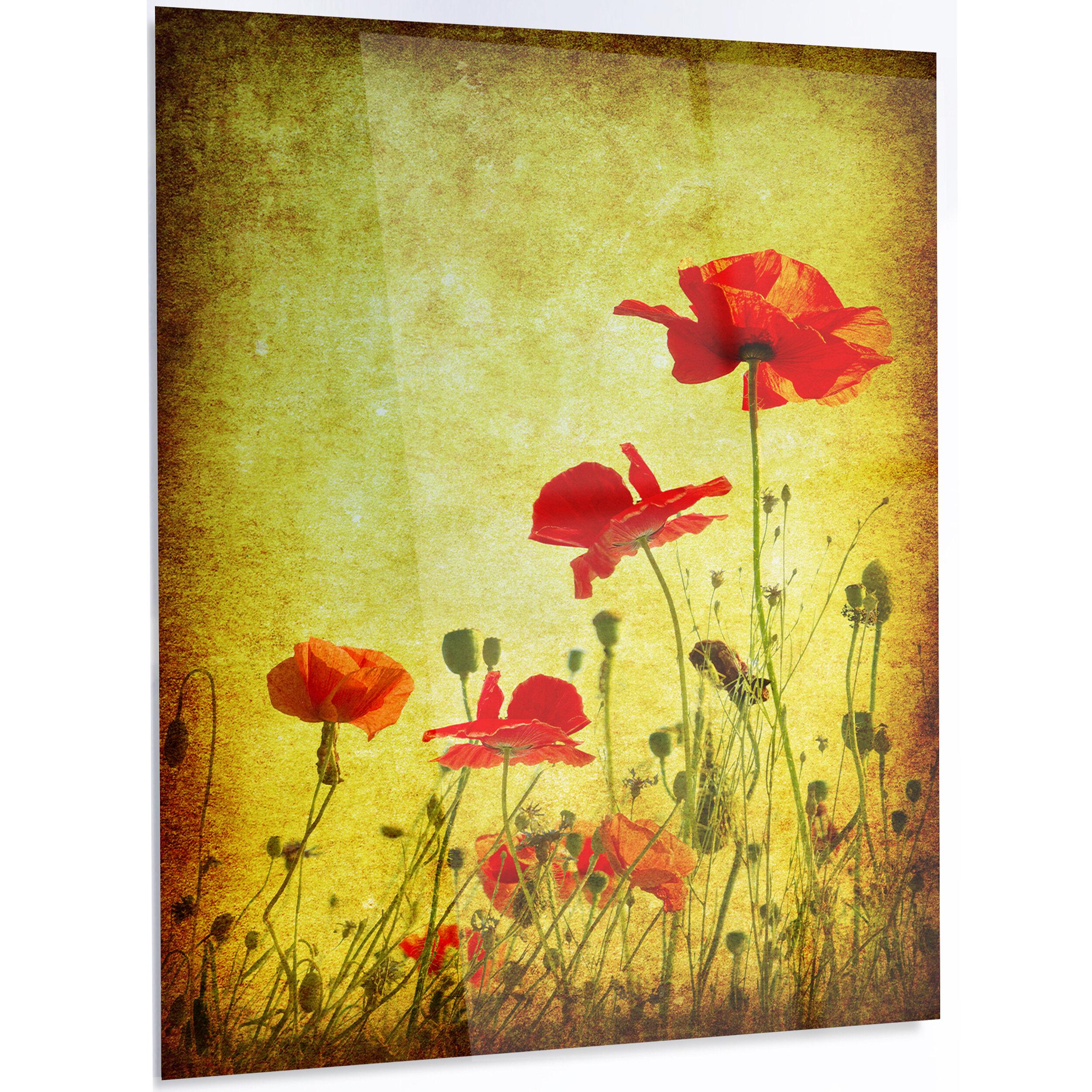 DesignArt \'Poppy Flowers on Grunge Background\' LED Graphic Art on ...
