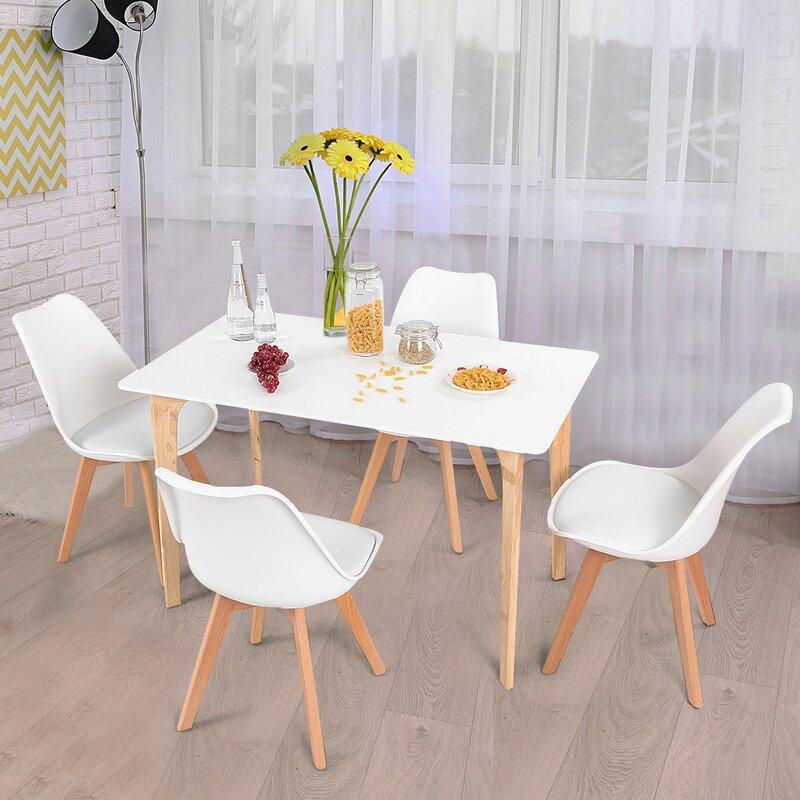 Ebern Designs Elyssa Rectangular 5 Piece Solid Wood Dining Set