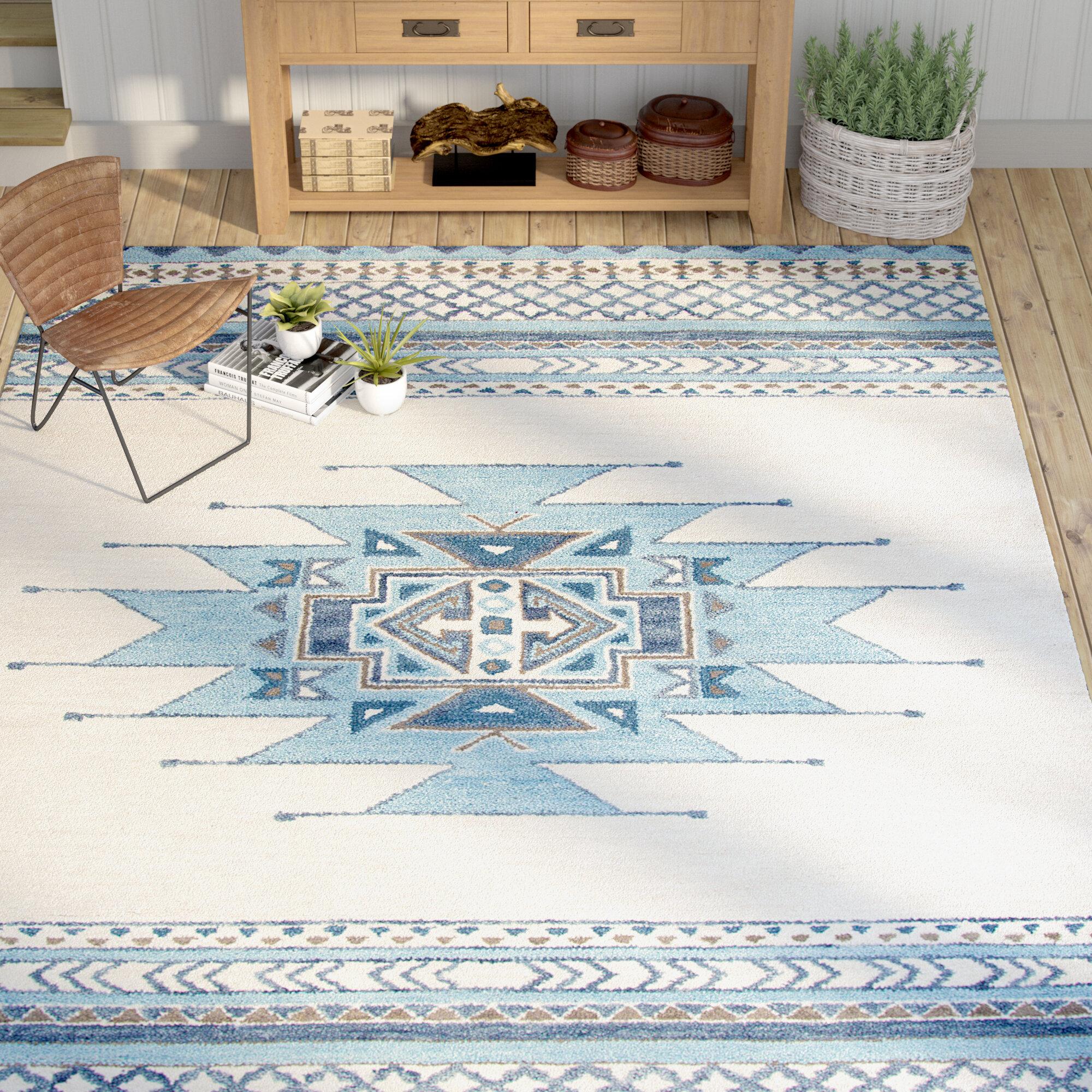 Mistana Pascal Hand-Tufted Aqua Wool Area Rug & Reviews | Wayfair