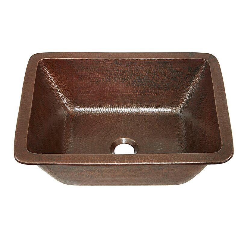 Sinkology hawking metal rectangular undermount bathroom for Rectangular copper bathroom sink