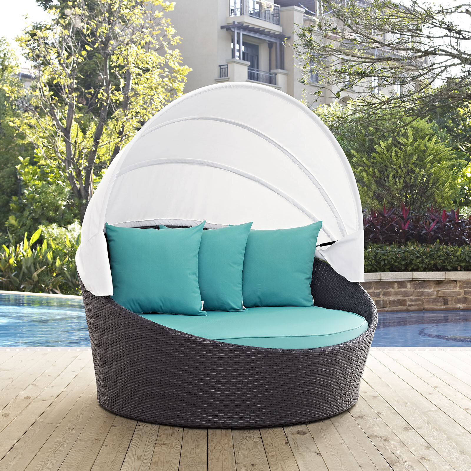 Laude Run Ryele Canopy Outdoor Patio Daybed with Cushions ... on entry canopy lighting, backyard pergola lighting, backyard gazebo lighting, patio canopy lighting,