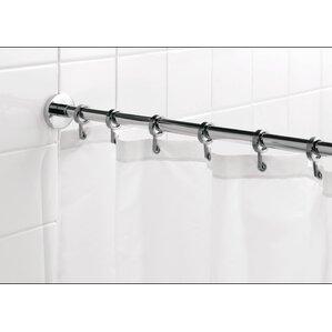 250cm straight fixed shower curtain rail u0026 ring set