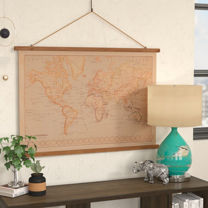 Bungalow rose canvas printed world map wall hanging reviews wayfair canvas printed world map wall hanging gumiabroncs Image collections