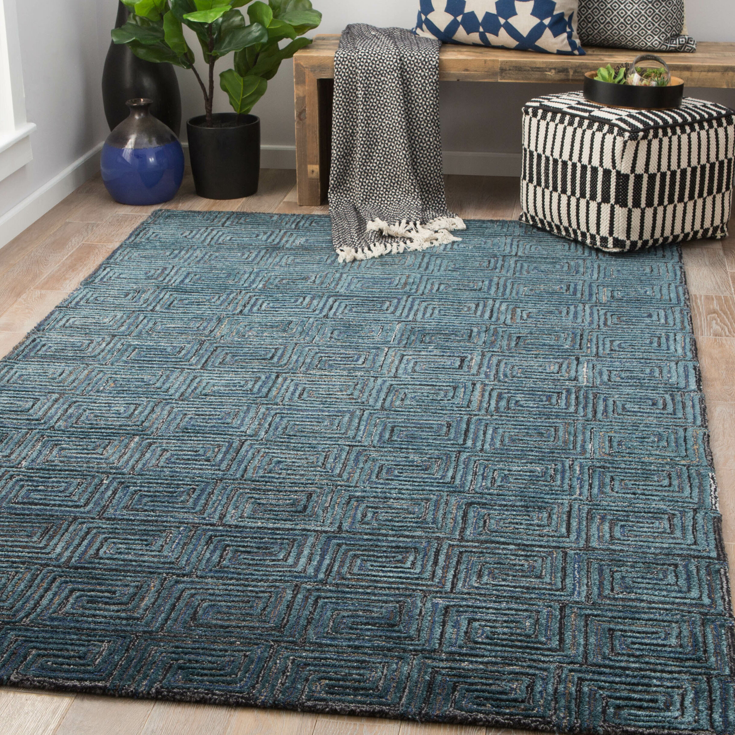 Pottery Barn Gray Mist Lizzie Tufted Wool 3x5 Rug Rugs