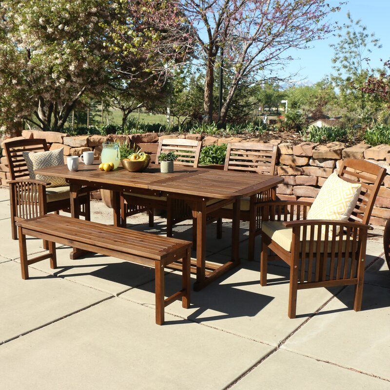 Darby Home Co Widmer 6 Piece Acacia Patio Dining Set with Cushions