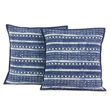 Hmong Charm Striped Hill Tribe Batik Cotton Pillow Cover (Set of 2)