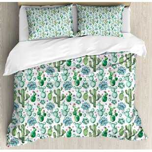 cactus hand painted exotic plant collection saguaro prickly pear succulents spines duvet set - Cactus Bedding
