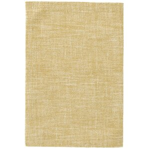 Crosshatch Micro Hand Hooked Wool Gold Area Rug