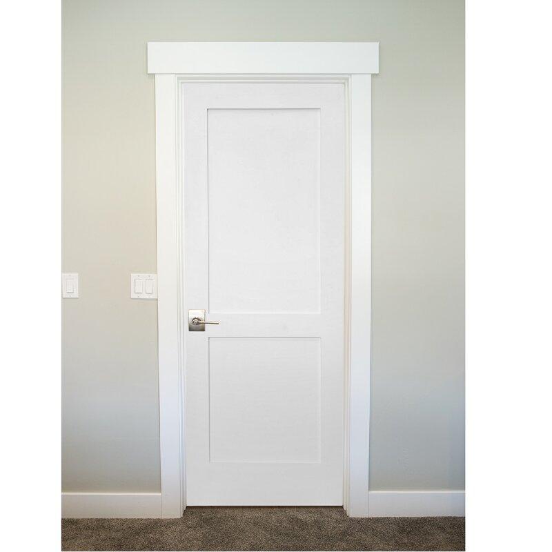 Paneled Solid Manufactured Wood Primed Shaker Two Panel Slab Door