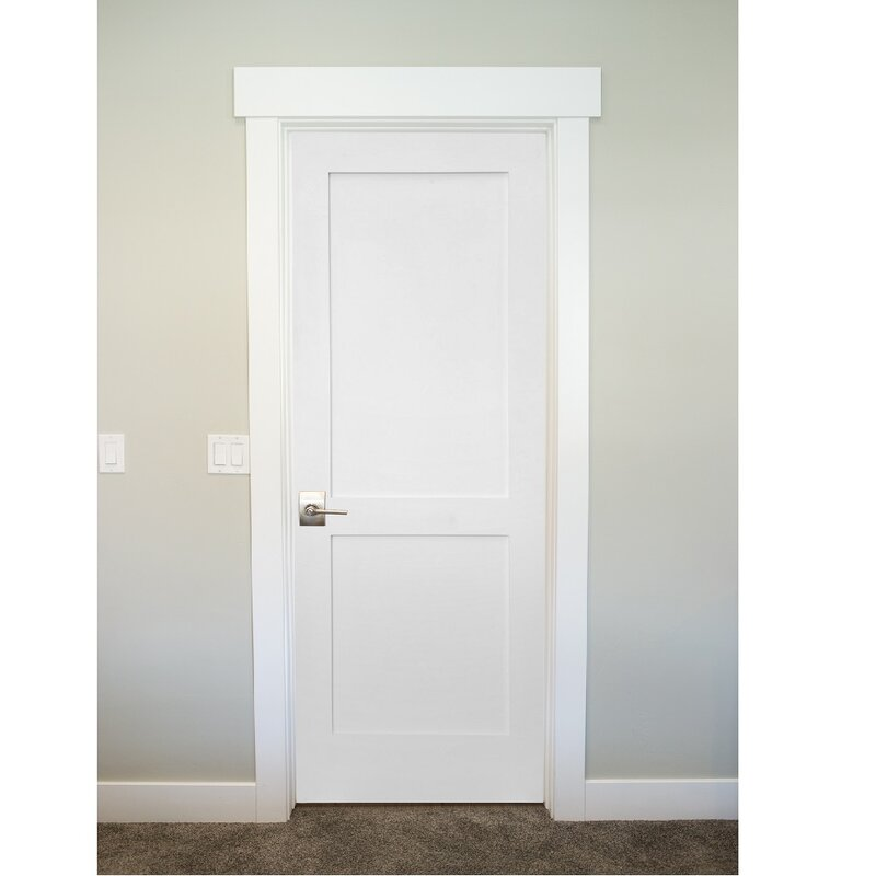 Primed Shaker 2 Panel Solid Manufactured Wood Panelled MDF Slab Interior  Door