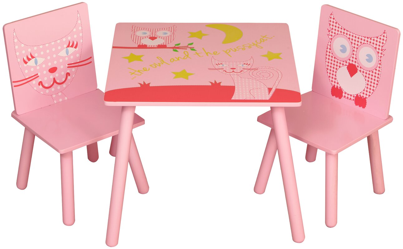 kidsaw 3 tlg kinder tisch und stuhl set owl and pussycat. Black Bedroom Furniture Sets. Home Design Ideas
