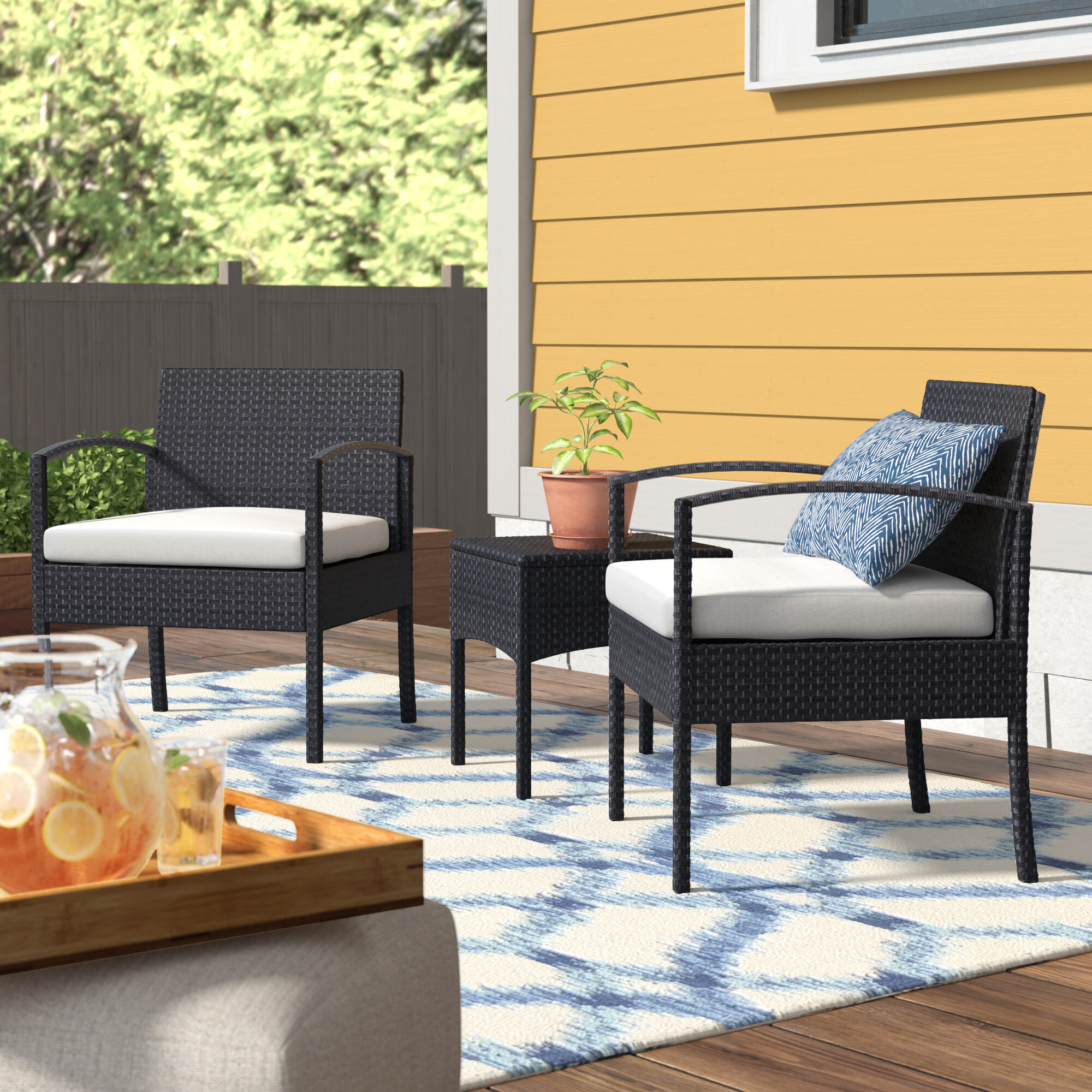 Wrought Studio Howze 3 Piece Conversation Set with Cushions ...