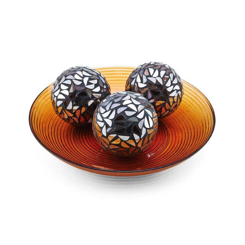 Bloomsbury Market Lona 40 Piece Mosaic Orb And Decorative Bowl Set Magnificent Decorative Orbs For Bowls