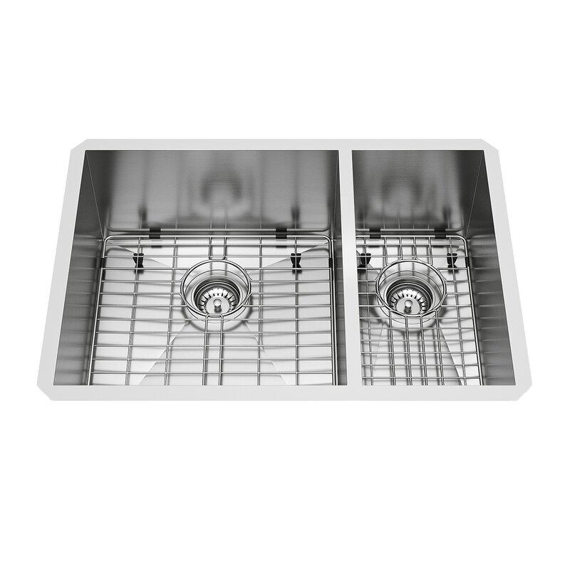 Vigo endicott stainless steel double bowl undermount kitchen sink endicott stainless steel double bowl undermount kitchen sink with grids and strainers workwithnaturefo