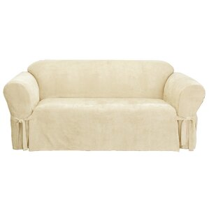 Soft Suede Box Cushion Sofa Slipcover by Sur..