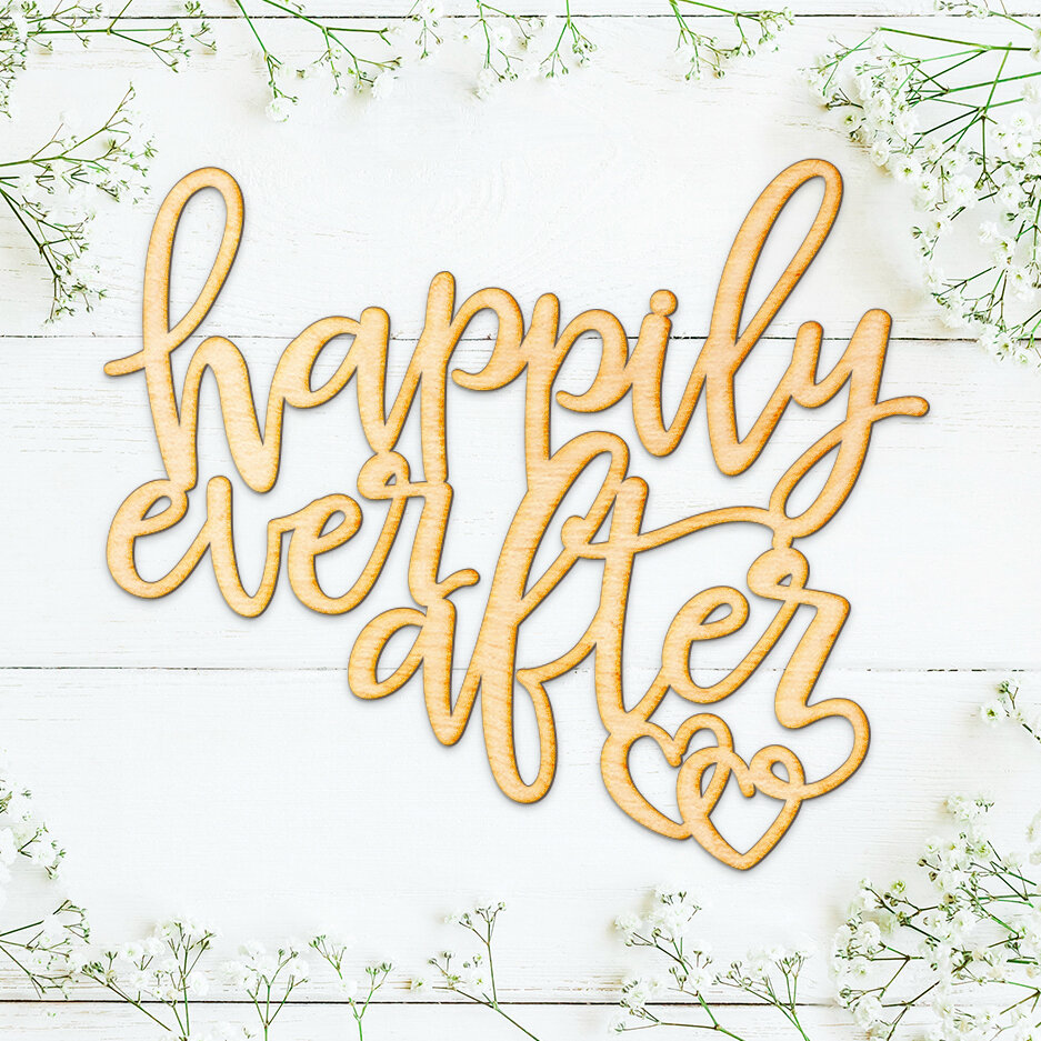 Wrought Studio Happily Ever After Wood Cut Sign Wall Décor | Wayfair