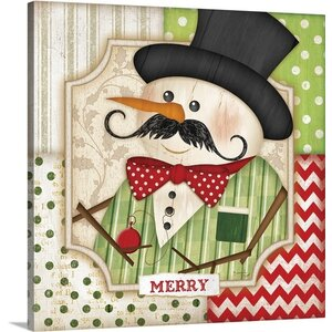 Christmas Art 'Mustache Snowman Merry' by Jennifer Pugh Graphic Art on Wrapped Canvas