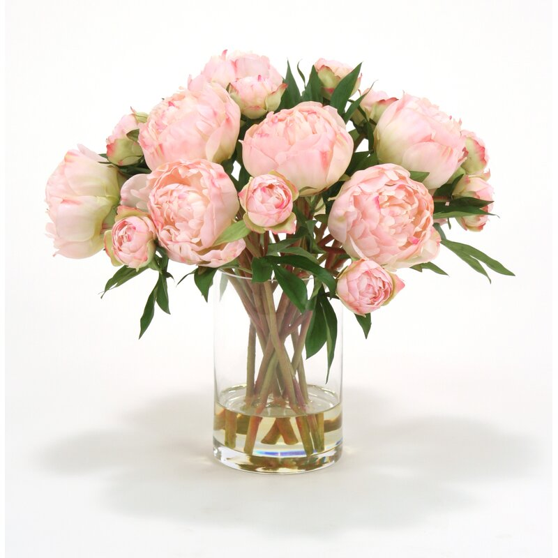 Distinctive Designs Waterlook Pink Peonies In Glass Cylinder Vase