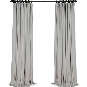 signature extra wide solid blackout velvet single curtain panel - Velvet Curtain