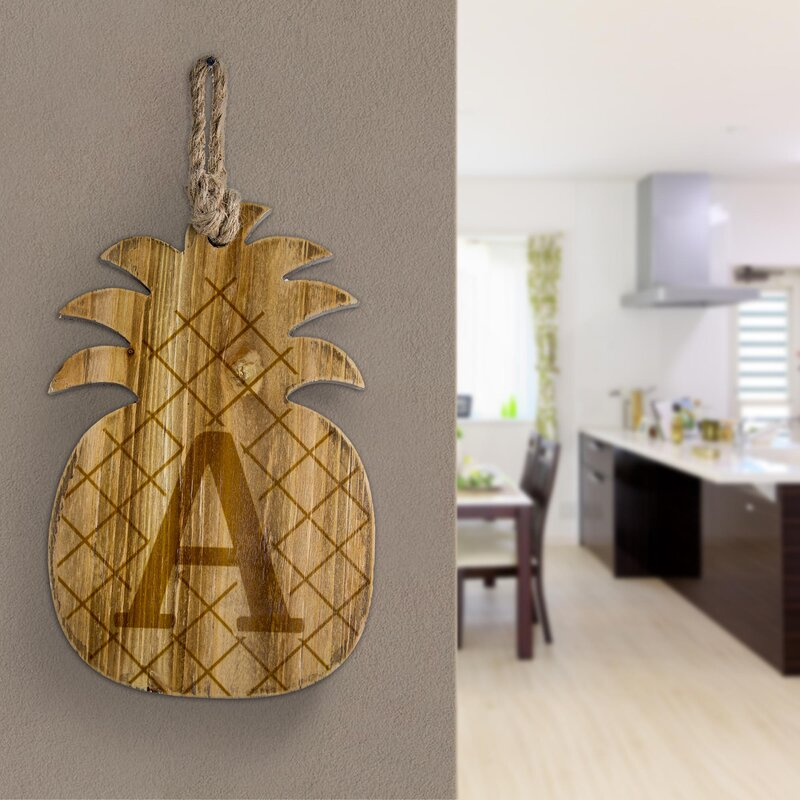 Wood Pineapple Hanging Initial Wall Décor