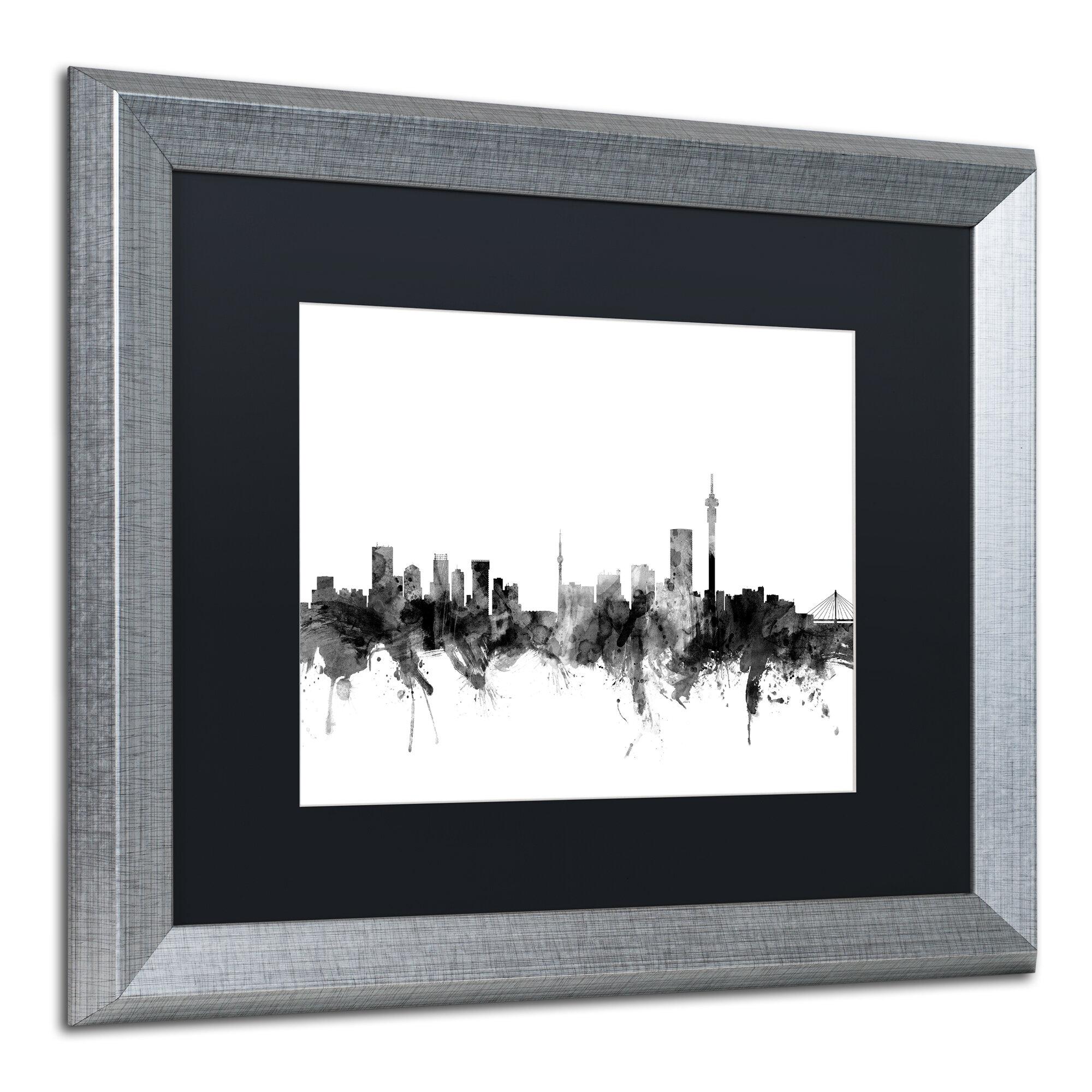 Trademark Art Johannesburg Skyline B Amp W Framed Graphic