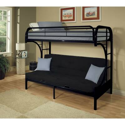 Easingwold Metal Twin Over Full Futon Bunk Bed With Built In Side Ladders