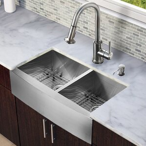 VIGO 33 inch Farmhouse Apron 60/40 Double Bowl 16 Gauge Stainless Steel Kitchen Sink with Astor Stainless Steel Faucet, Tw...