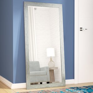 silver wood full length floor mirror