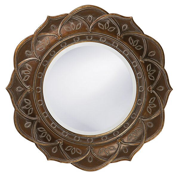 Wood Wall Mirror bungalow rose round antique copper wood wall mirror & reviews