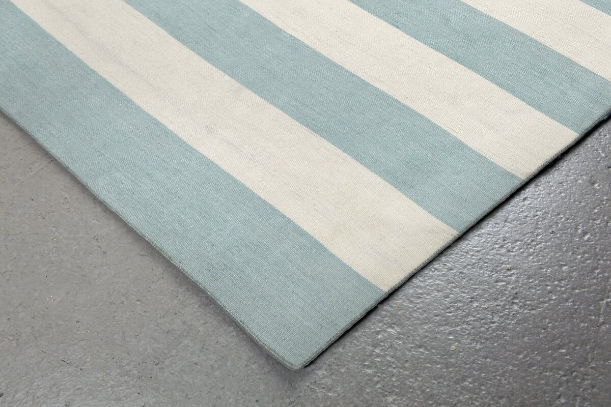 Ranier stripe hand woven blue beige indoor outdoor area for Woven vinyl outdoor rugs