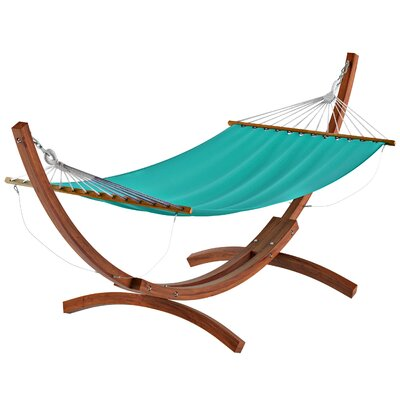 Beachcrest Home Grissom Free-Standing Hammock with Stand Color: Teal