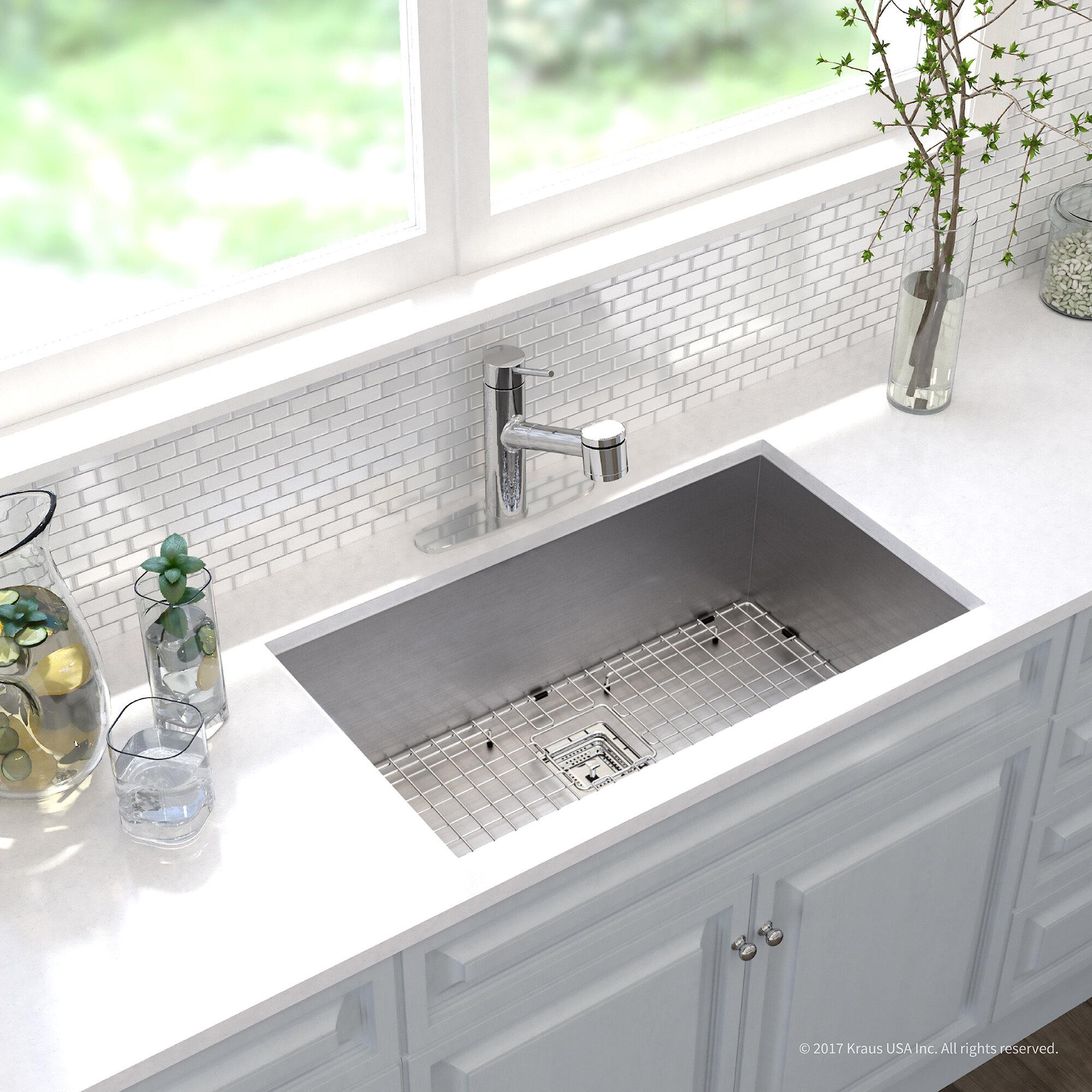Kraus Pax Zero Radius 16 Gauge Stainless Steel 31 5 X 18 Undermount Kitchen Sink With Faucet Wayfair