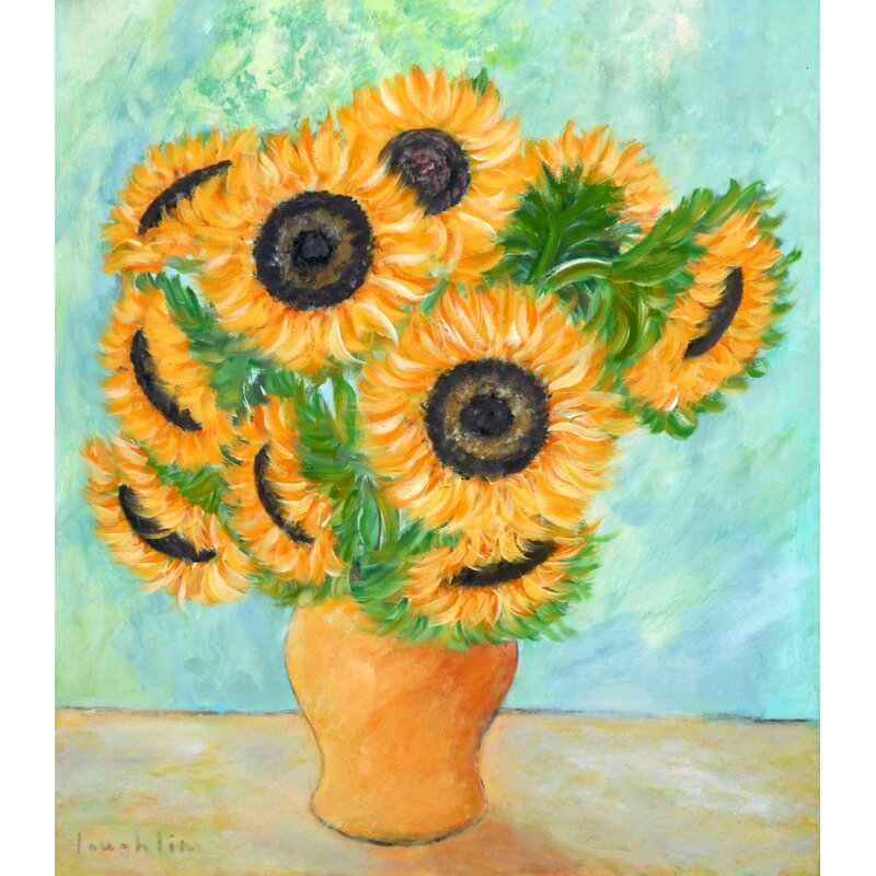 Buy Art For Less Sunflowers In A Yellow Vase By Brendan Loughlin