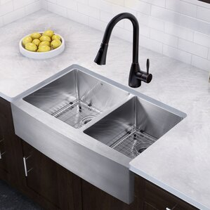 VIGO 36 inch Farmhouse Apron 60/40 Double Bowl 16 Gauge Stainless Steel Kitchen Sink with Aylesbury Antique Rubbed Bronze ...