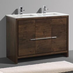 "Bathroom Vanity Modern mercury row bosley 48"" double modern bathroom vanity set & reviews"