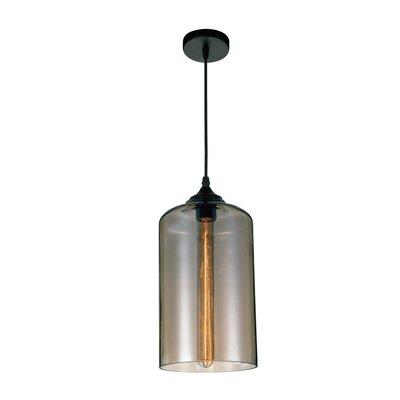 1-light Cylinder Pendant Cwilighting Shade Color: Smoke