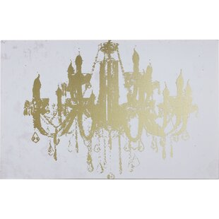 Glam wall art youll love wayfair champagne gold diamond chandelier graphic art on wrapped canvas aloadofball Image collections