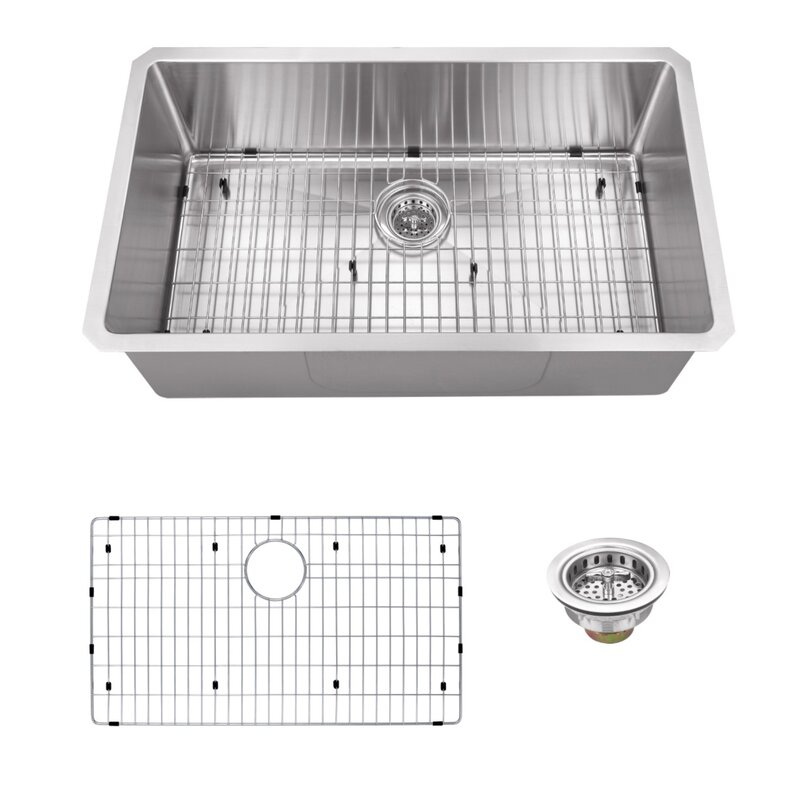 radius 16 gauge stainless steel 32 u0027 u0027 x 19 u0027 u0027 single bowl undermount kitchen soleil radius 16 gauge stainless steel 32 u0027 u0027 x 19 u0027 u0027 single bowl      rh   wayfair com