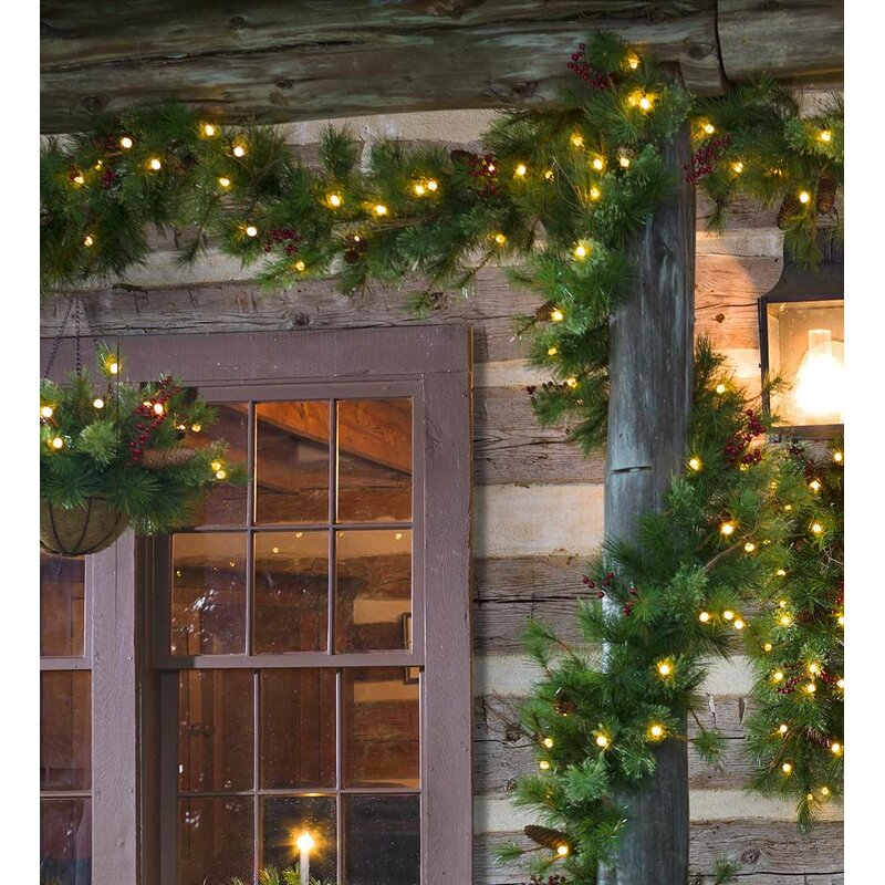 lighted outdoor battery operated holiday garland with auto timer - Battery Lighted Christmas Decorations