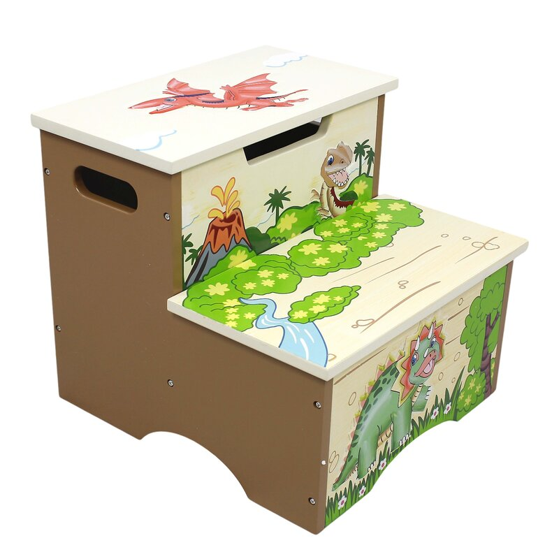 Dinosaur Kingdom Kids Step Stool with Storage  sc 1 st  Wayfair : step stool storage - islam-shia.org